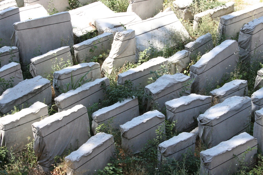 Wrapped stone slabs in Rome